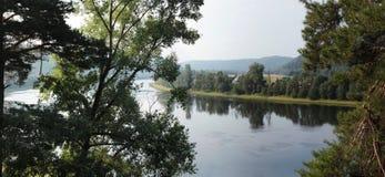 Zgina w rzece z drzewami w przedpolu Zdjęcia Stock