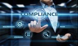 Zgodność Rządzi prawo Przepisowej polisy technologii Biznesowego pojęcie obrazy royalty free