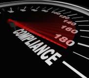 Zgodność szybkościomierz Rządzi przepisów standardy Obrazy Stock