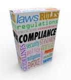 Zgodności słowa produktu Usługowy pakunek Stosuje się prawo wytyczna Obraz Stock