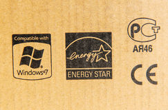Zgodny z Windows 7, energii gwiazdą, CE Mark i rosjaninem Stan, Obrazy Royalty Free