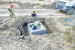 Zgromadzenie foremka dla betonowego dolewania, zakrywa ląg z drewnianym p obrazy stock