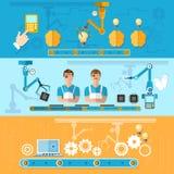 Zgromadzenie i produkcja komputeru wektoru sztandary Obrazy Stock