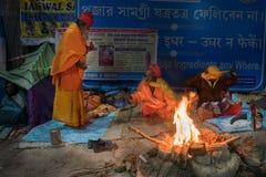 Zgromadzenie Indiański Hinduski sadhus Fotografia Stock