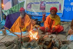 Zgromadzenie Indiański Hinduski sadhus Zdjęcie Stock
