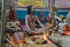 Zgromadzenie Indiański Hinduski sadhus Obrazy Royalty Free