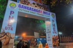 Zgromadzenie Indiański Hinduski sadhus - Gangasagar Mela Obraz Stock