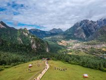 Zha Ga Na. Village, the place which created with God& x27;s thumb, in Diebu county, Gansu province Stock Photo