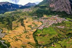 Zha Ga Na. Village , the place which created with God& x27;s thumb, in Diebu county, Gansu province Stock Photography