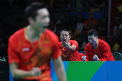 Zhang Jike playing table tennis at the Olympic Games in Rio 2016. Zhang Jike from China silver medal in table tennis at the Olympic Games in Rio 2016 Royalty Free Stock Image