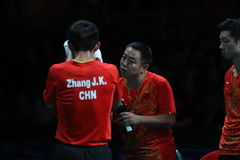 Zhang Jike playing table tennis at the Olympic Games in Rio 2016. Stock Image