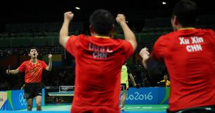 Zhang Jike playing table tennis at the Olympic Games in Rio 2016. Zhang Jike from China silver medal in table tennis at the Olympic Games in Rio 2016 Royalty Free Stock Images