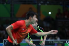 Zhang Jike playing table tennis at the Olympic Games in Rio 2016. Zhang Jike from China silver medal in table tennis at the Olympic Games in Rio 2016 Stock Images