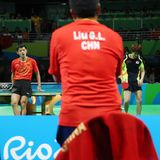 Zhang Jike playing table tennis at the Olympic Games in Rio 2016. Stock Photos