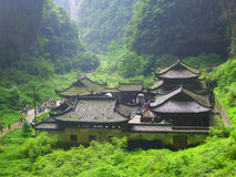 The Zhang Yimou movie. Curse of the Golden Flower outside photography, Chongqing Wulong County, was born in three Qiao. Is the world natural heritage center Stock Photography