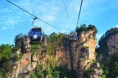 Zhangjiajie, China - May 12, 2017: Cable car in Wulingyuan in Zhangjiajie National Park, China. Zhangjiajie, China - May 12, 2017: Cable car in Wulingyuan in Royalty Free Stock Photography