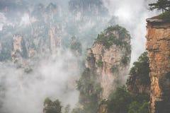 Zhangjiajie Forest Park. Gigantic pillar mountains rising from t. He canyon. Hunan province, China Royalty Free Stock Photography