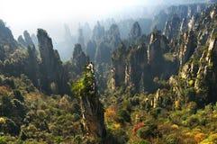 Zhangjiajie Forest Park Gigantiska pelarberg som stiger från kanjonen Tianzi berg Hunan landskap, Kina Arkivbilder