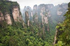 Zhangjiajie Forest Park Gigantiska pelarberg som stiger från t Arkivfoto