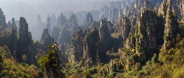 Zhangjiajie National Forest Park. Gigantic pillar mountains rising from the canyon. Tianzi Mountain.Hunan province. Zhangjiajie National Forest Park. Gigantic Stock Image