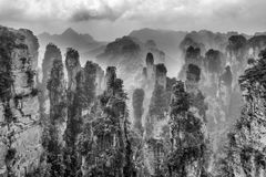 Zhangjiajie National Forest Park, Hunan, China. Zhangjiajie National Forest Park of Hunan, China in B&W stock image