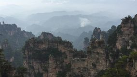 Rock mountains at Zhangjiajie National Park in Hunan, China stock footage