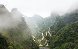 Zhangjiajie national park ( tian zhi shan ) ( Tianzi Mountain Nature Reserve ) and fog , China stock image