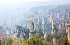 Zhangjiajie nationaler Forest Park, shooted von Tianzi-Berg, der eine UNESCO-Welterbestätte gekennzeichnet wurde, Hunan, China lizenzfreie stockfotos