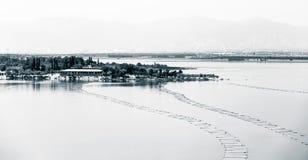 Zhangjiakou, Hebei, Porcelanowy Guanting rezerwuaru krajobraz zdjęcie stock