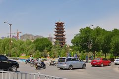 Wooden pagoda of the city of Zhangye royalty free stock images