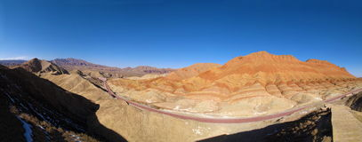Zhangye Danxia landform wonders National Geological Park panorama Stock Image