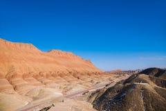 Zhangye Danxia landform zastanawia się obywatela Geopark Zdjęcie Royalty Free