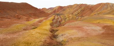 ZhangYe Rainbow Mountain natural colorful soil DanXi Scenic Spot royalty free stock photo
