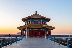Zhanqiao pier at sunrise, Qingdao, Shandong, China. Royalty Free Stock Images