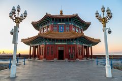 Zhanqiao pier at sunrise, Qingdao, Shandong, China. Stock Images