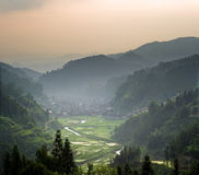 Zhaoxing Dong Chinese Village at sunset Stock Photo