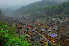 Zhaoxing Town, Liping County, Guizhou, China. Zhaoxing Village is one of the largest villages in Guizhou. Stock Photo
