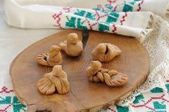 Zhavoronki, Russian rye cookies for spring equinox selebration. Horizontal stock image