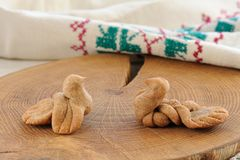 Zhavoronki, Russian rye cookies for spring equinox selebration. Horizontal stock images