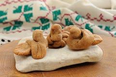 Zhavoronki, Russian rye cookies for spring equinox selebration. Horizontal royalty free stock image