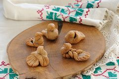 Zhavoronki, Russian rye cookies for spring equinox selebration Royalty Free Stock Image