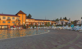 Zhayvoronok thermal outdoor pool in Berehove, Ukraine Stock Photo