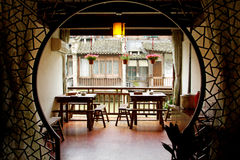 Zhejiang Wuzhen ancient buildings indoor tables and chairs Royalty Free Stock Photography