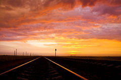 Zhelezy road at sunset Royalty Free Stock Images
