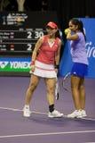 Zheng Jie/Mirza Sania showdown of Champions Tennis Stock Photo
