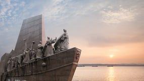 Zheng He resor i de södra haven som så är avlägsna som Afrika Arkivbild