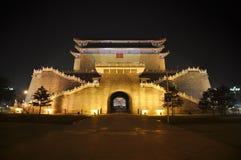Zhengyangmen Gate at Night Stock Photo