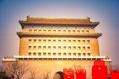Zhengyangmen łucznictwa wierza Pekin Chiny zdjęcie stock