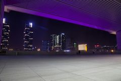 From the second floor observation deck of zhengzhou east station, the night view outside the west square looks like a huge stage p royalty free stock photos