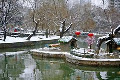 Snow Scenery in Zhengzhou People's Park. Zhengzhou People's Park is located on the west side of North 27th Road in the urban center. It was established stock image